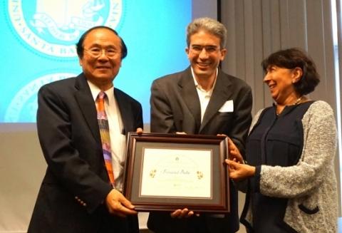Francesco Bullo, Chancellor Henry Yang, and Kum Kum Bhavnani
