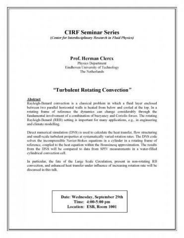 "CIRF Seminar on ""Turbulent Rotating Convection"" - Prof. Herman Clercx"